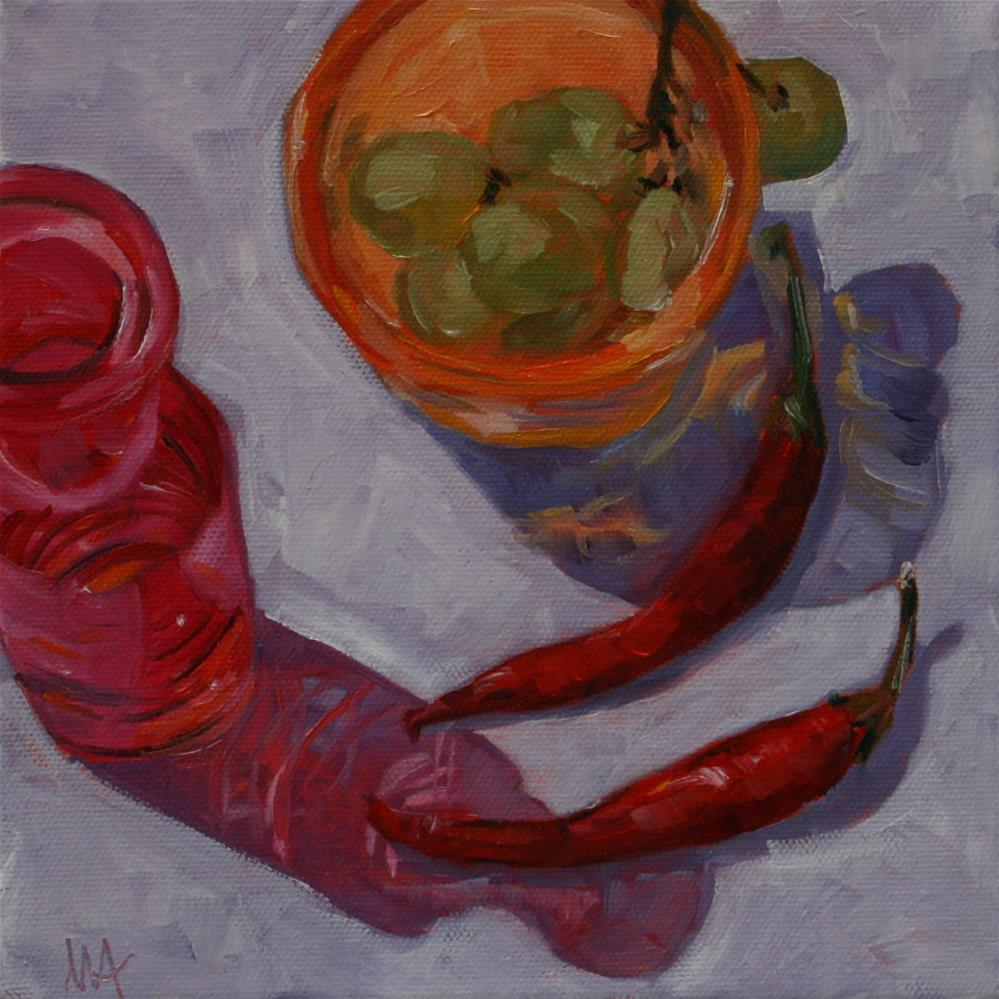 """Chillis and Grapes"" original fine art by Aniko Makay"