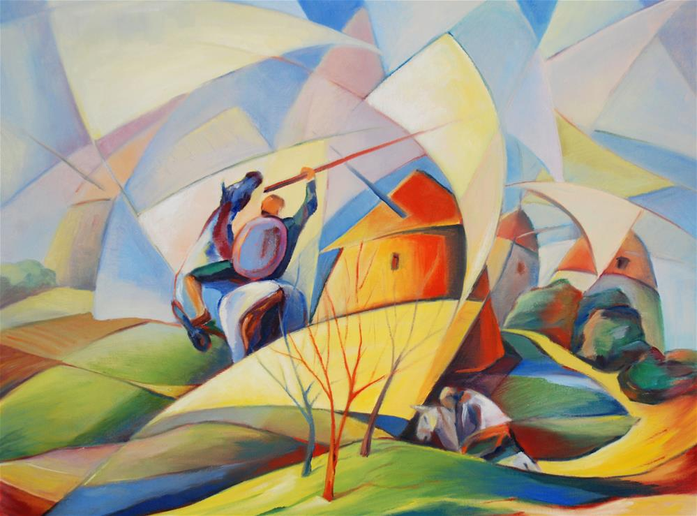 """Don Quixote and windmills"" original fine art by Olga Touboltseva-Lefort"