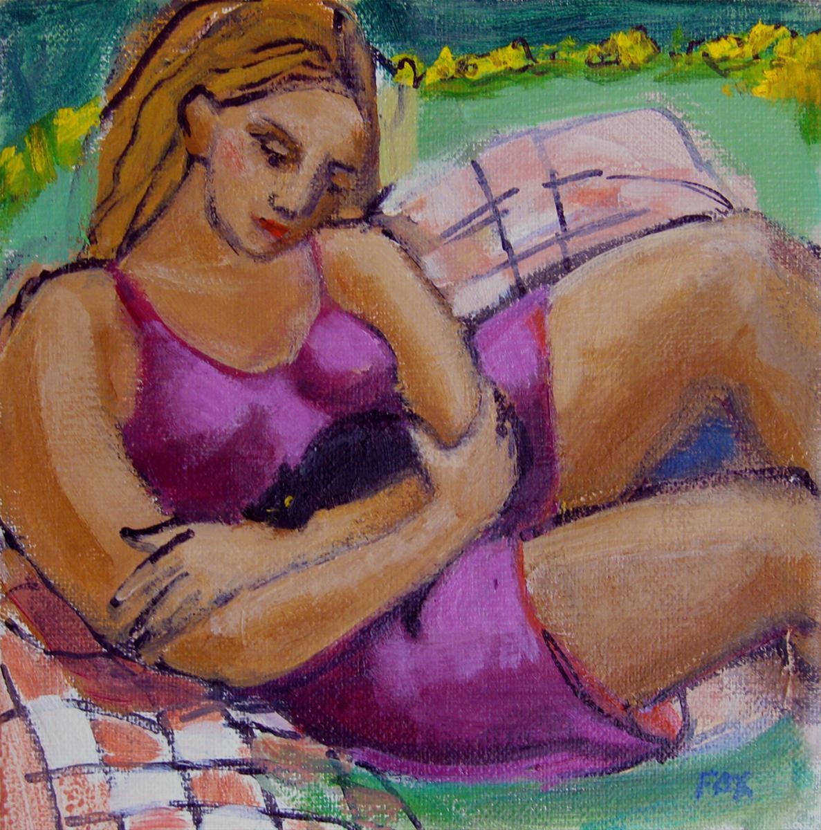 """Figurative oil painting, woman, female figure, figurative art, cat, cat art, Marie Fox"" original fine art by Marie Fox"