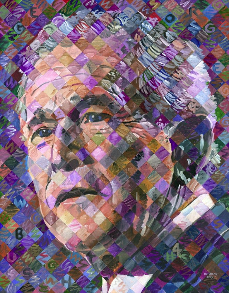 """George W. Bush"" original fine art by Randal Huiskens"