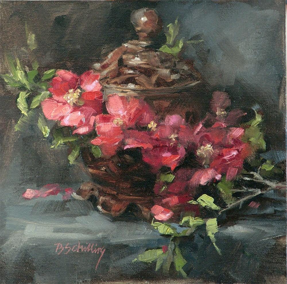 """Flowering Quince"" original fine art by Barbara Schilling"