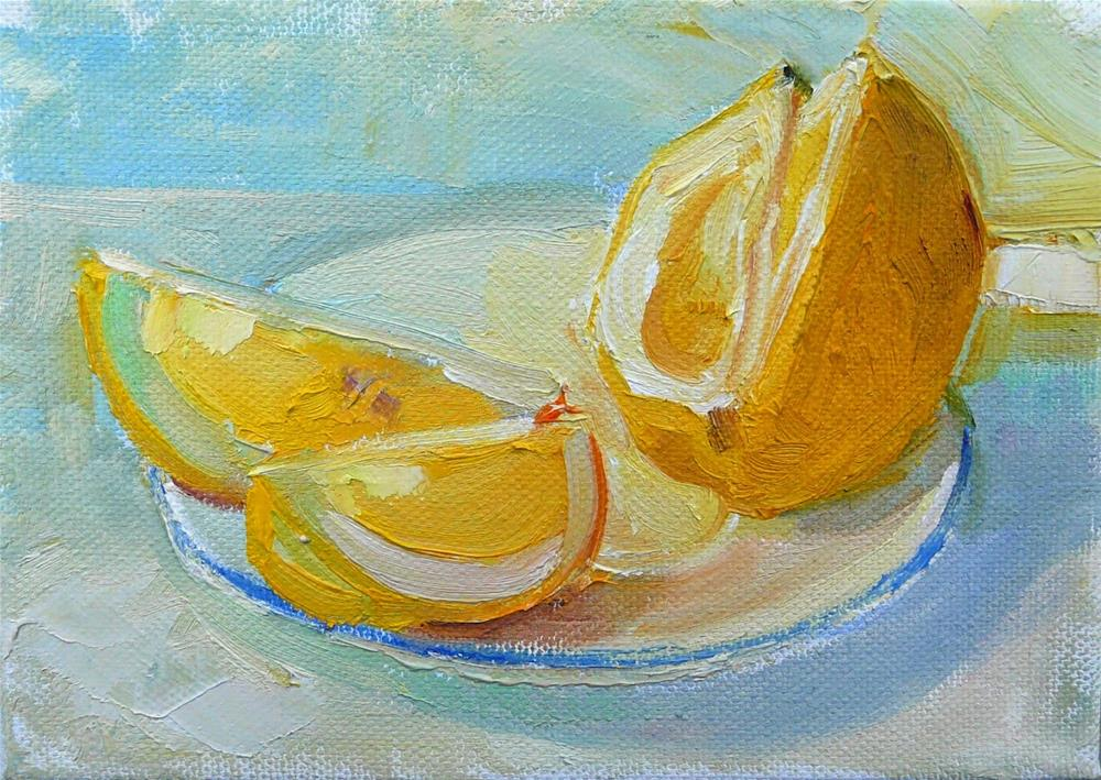 """Lemon Light,still life,oil on canvas,5x7,$175"" original fine art by Joy Olney"