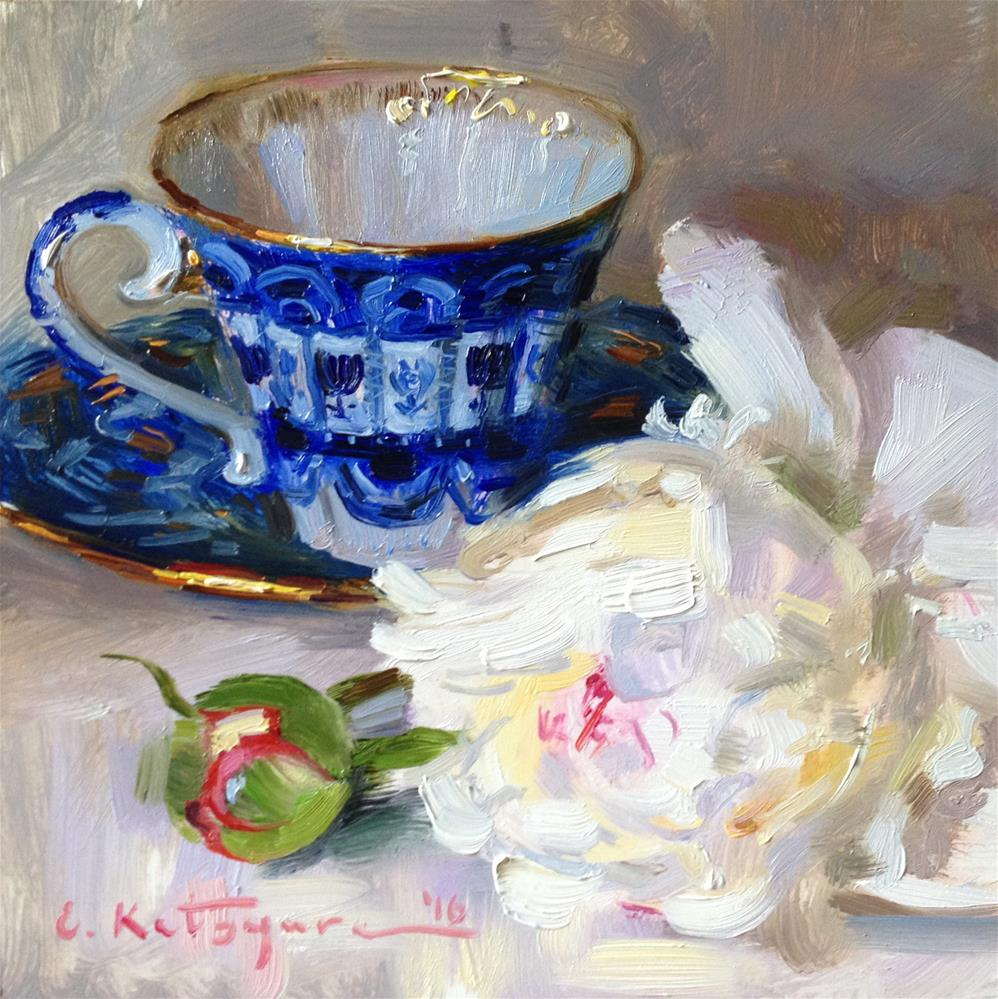 """Teacup and White Peony"" original fine art by Elena Katsyura"