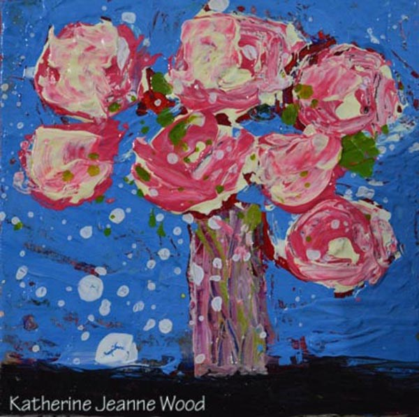 """Pink and blue floral painting No 135"" original fine art by Katie Jeanne Wood"