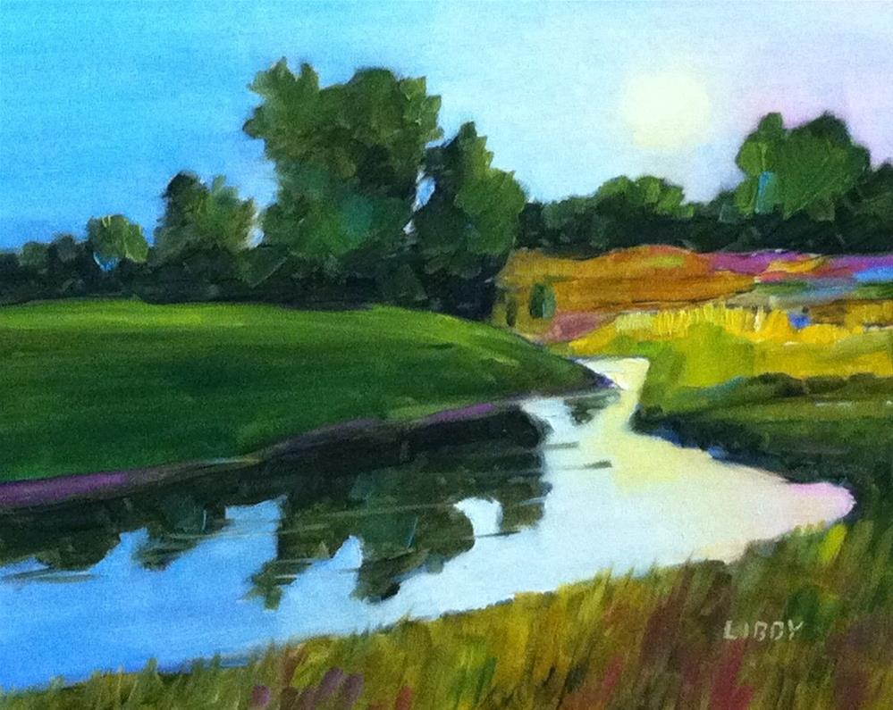 """""""Lake in the Morning"""" original fine art by Libby Anderson"""