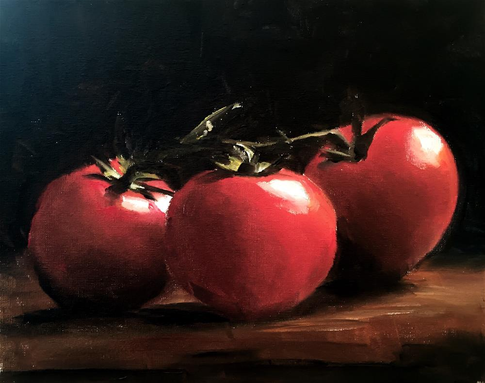 """Three Tomatoes"" original fine art by James Coates"