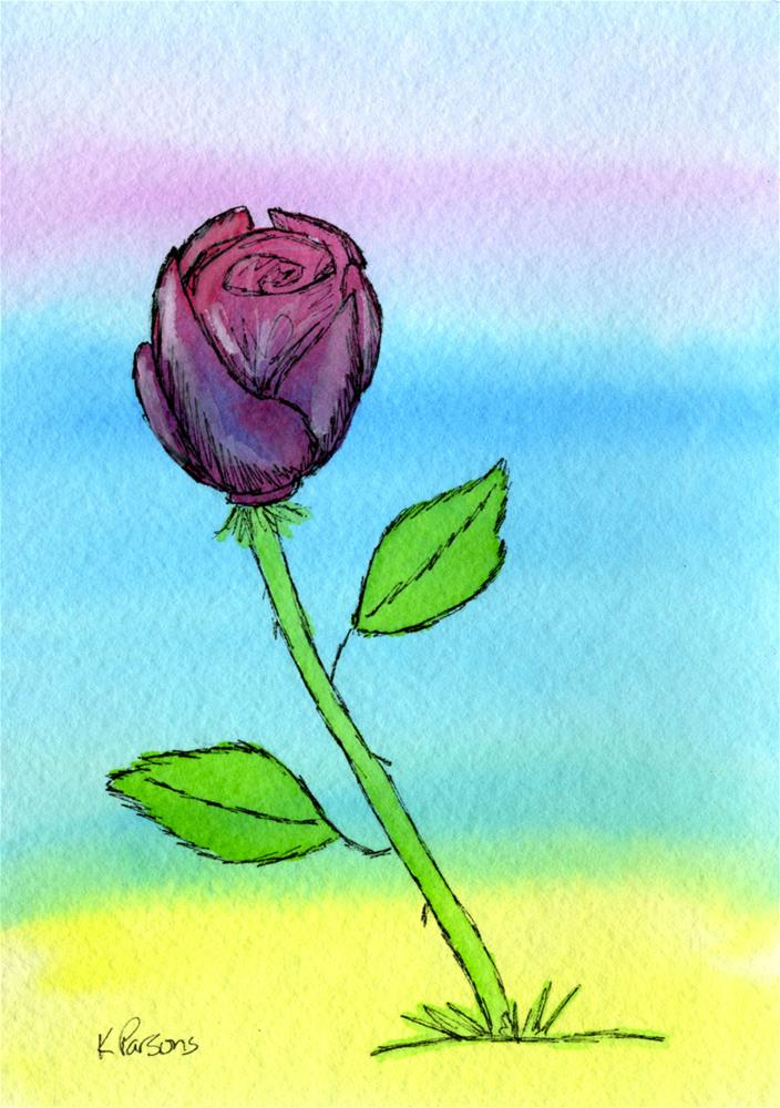 """Single Rose"" original fine art by Kali Parsons"