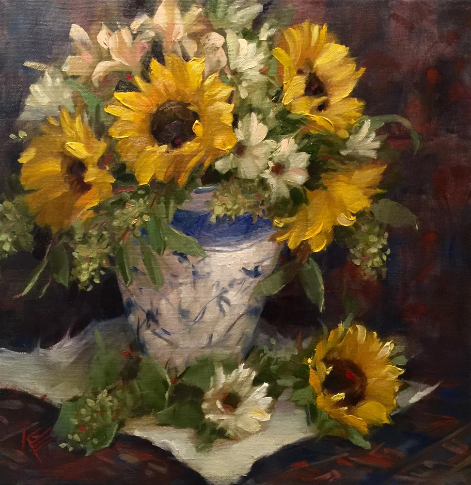 """Sunflowers & Daisies Still Life"" original fine art by Krista Eaton"