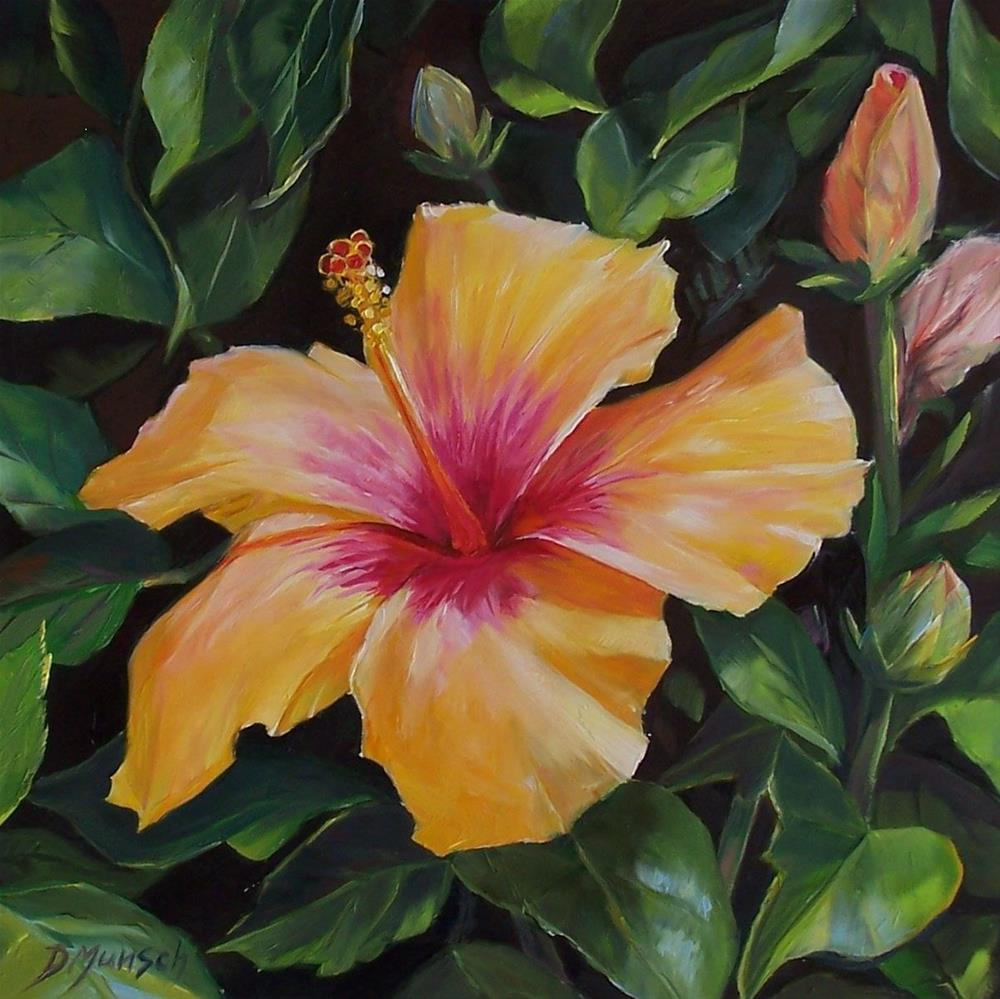 """Hibiscus Sunset"" original fine art by Donna Munsch"