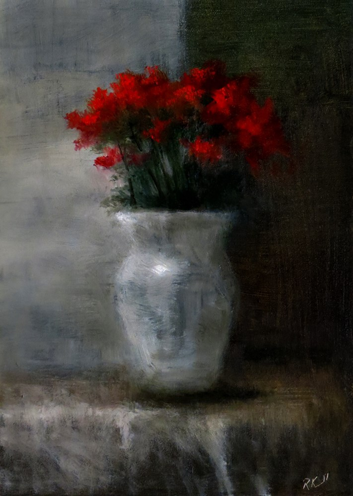 """Roses in a White Vase"" original fine art by Bob Kimball"