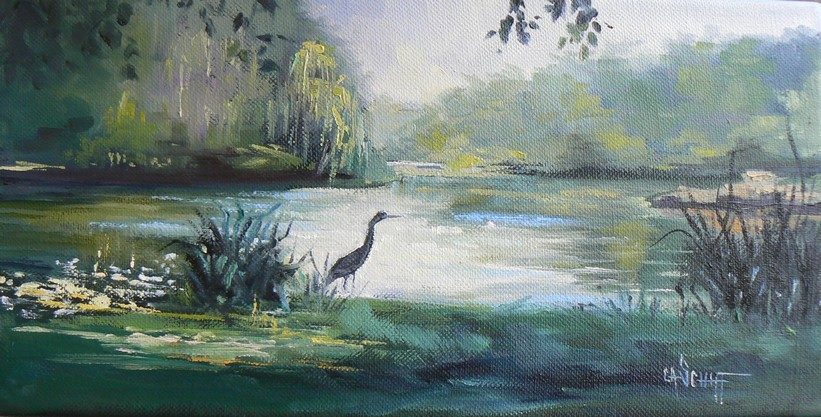 """MORNING IN HYDE PARK, 6x12, Oil on Stretched Canvas"" original fine art by Carol Schiff"