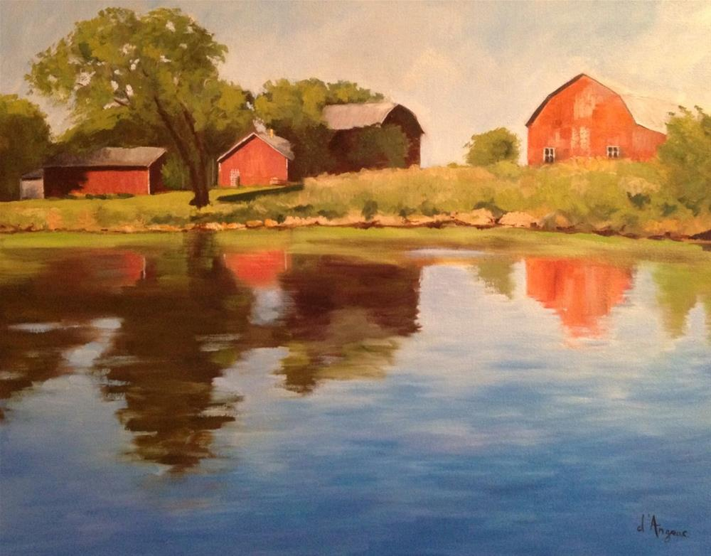 """Red Barns"" original fine art by Karen D'angeac Mihm"