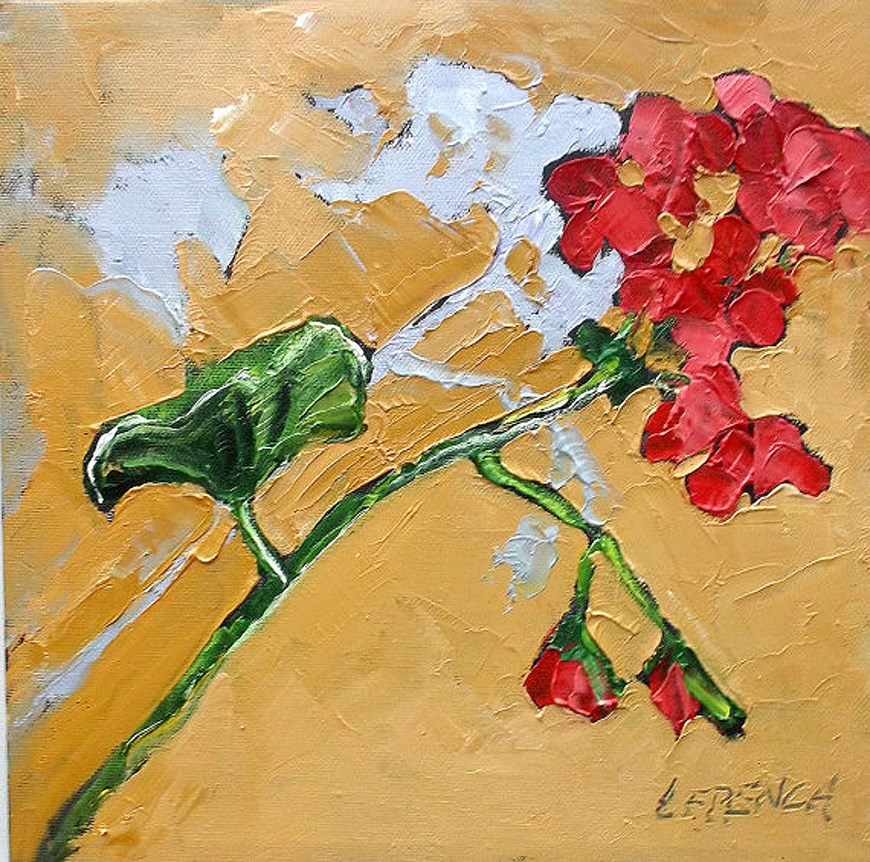"""Red Geraniums"" original fine art by lynne french"