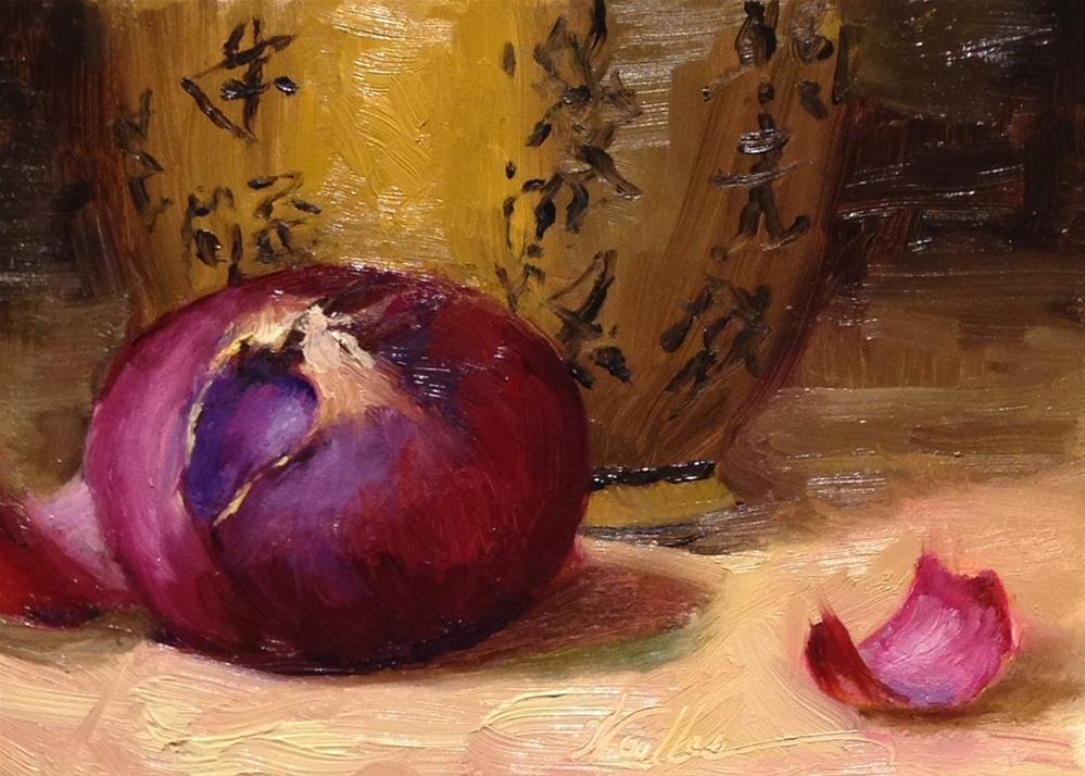 """Purple Onion and Chinese Urn"" original fine art by Dorothy Woolbright"