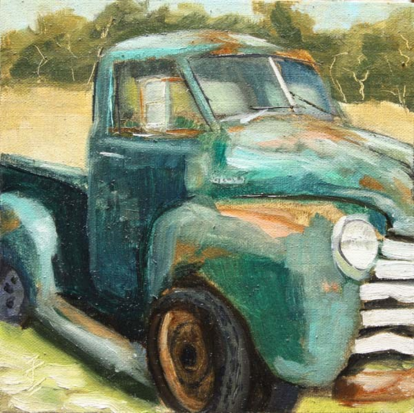 """Green Chevy"" original fine art by Jane Frederick"