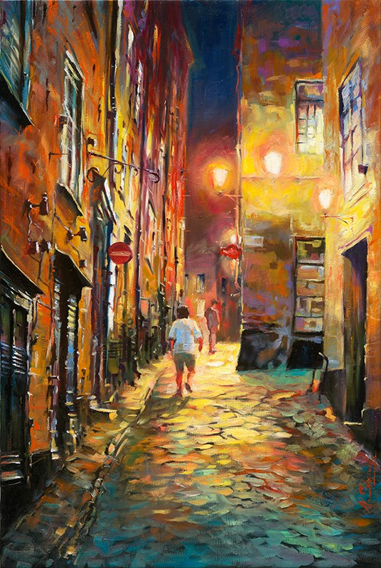 """Warm evening # 2 Stockholm Gamla stan Oil painting"" original fine art by Nick Sarazan"