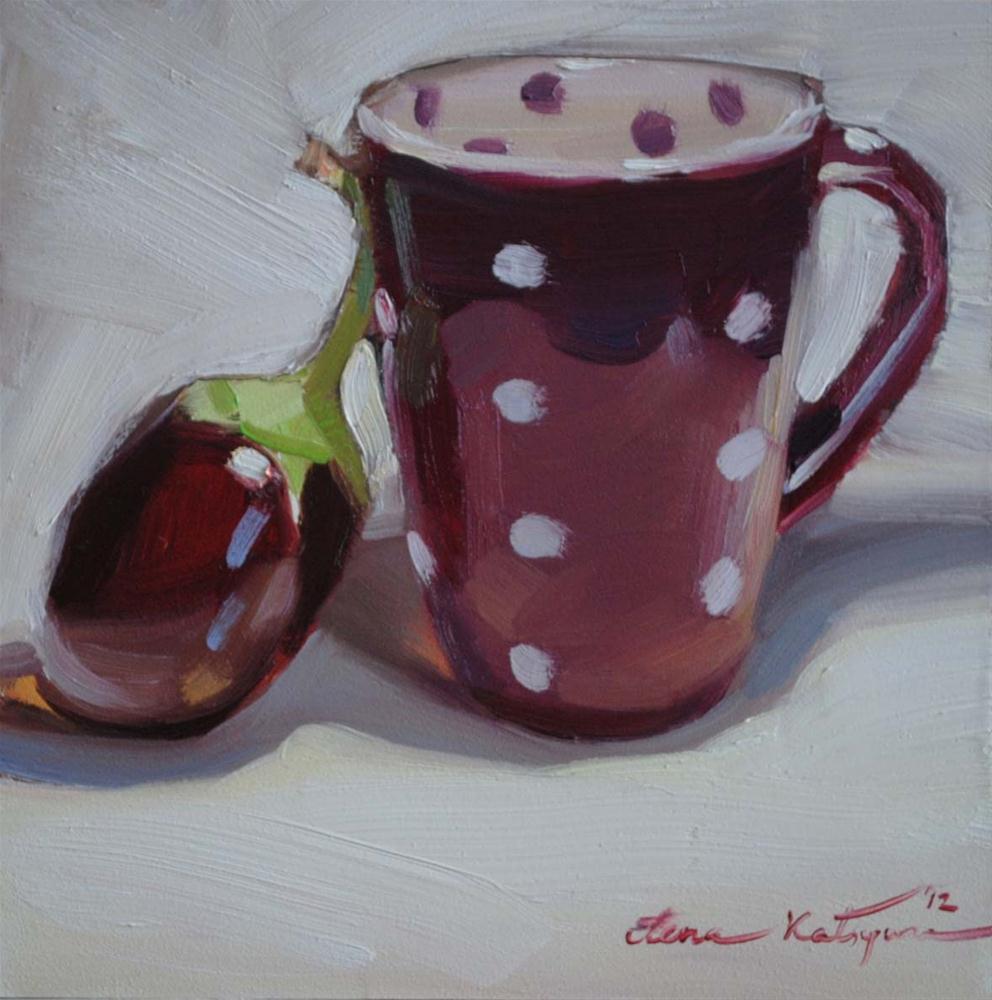"""""""Polka Eggplant"""" original fine art by Elena Katsyura"""