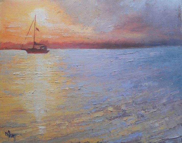"""Daily Painting, Small Oil Painting, Sunset over Water Art, Day's End 11x14x1.5 Textured Oil Paint"" original fine art by Carol Schiff"