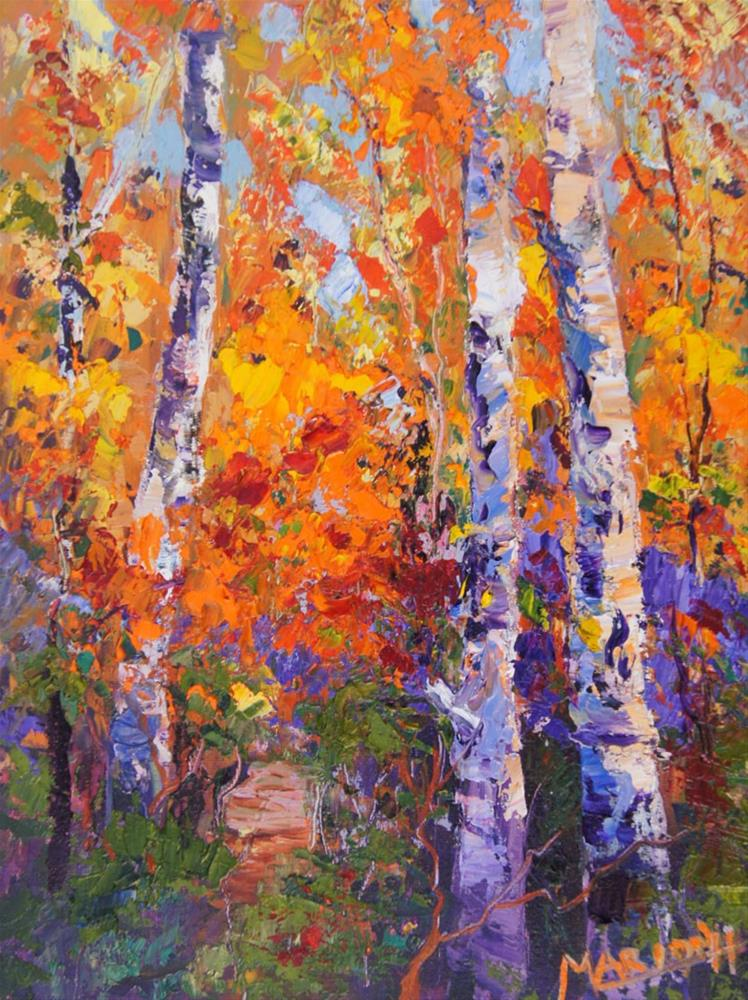 """Fall Aspens (Autumn Silver Birches) 7x10"" original fine art by Marion Hedger"
