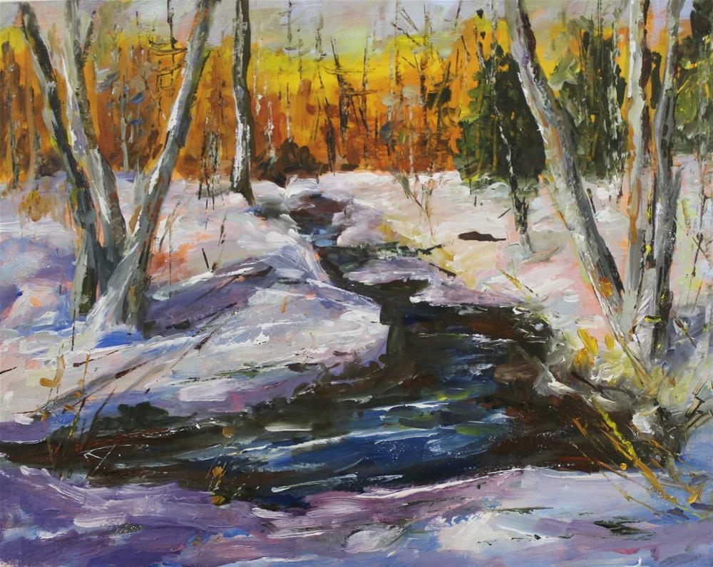 """Oil on panel winter snow creek landscape painting"" original fine art by Alice Harpel"