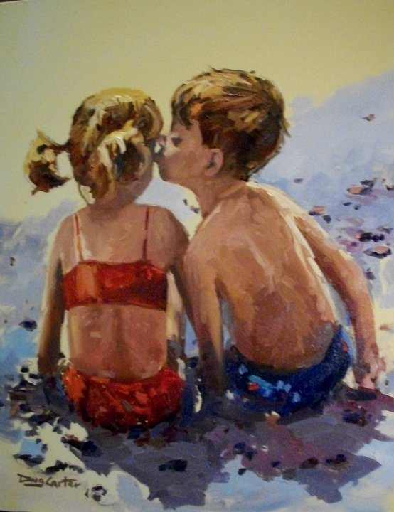 """First beach kiss"" original fine art by Doug Carter"