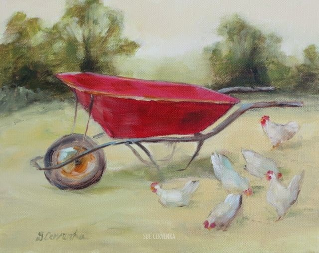 """Hen Party: White Chickens and a Red Wheelbarrow"" original fine art by Sue Cervenka"