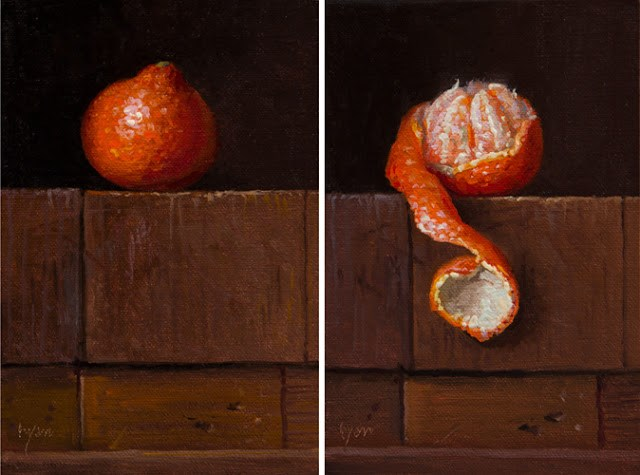 """""""Both Paintings Together: Tangelos on Stacked Wood Blocks"""" original fine art by Abbey Ryan"""