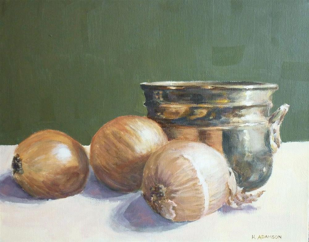 """Brass Bowl and Onions"" original fine art by Helene Adamson"