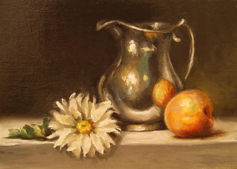 """Still Life with Daisy Silver Pitcher Oil Painting 5x7 Linen Panel"" original fine art by Carolina Elizabeth"