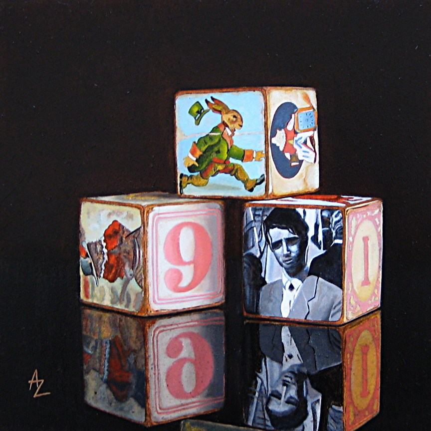 """Memory Blocks: 9-Rabbit"" original fine art by Alex Zonis"