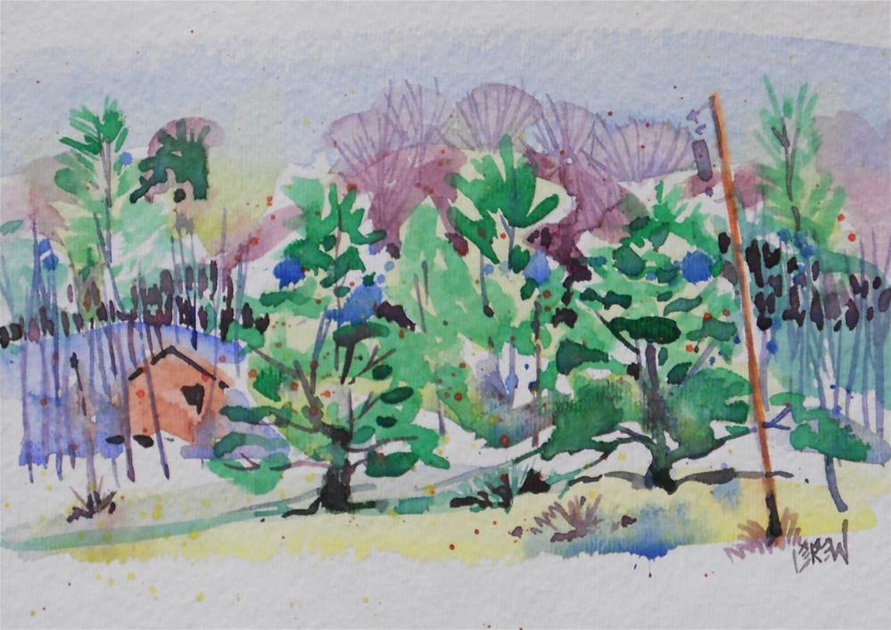 """""""Mountain Cabin #130806"""" original fine art by Larry Lerew"""