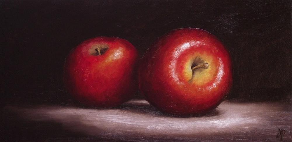 """Two Red Apples"" original fine art by Jane Palmer"