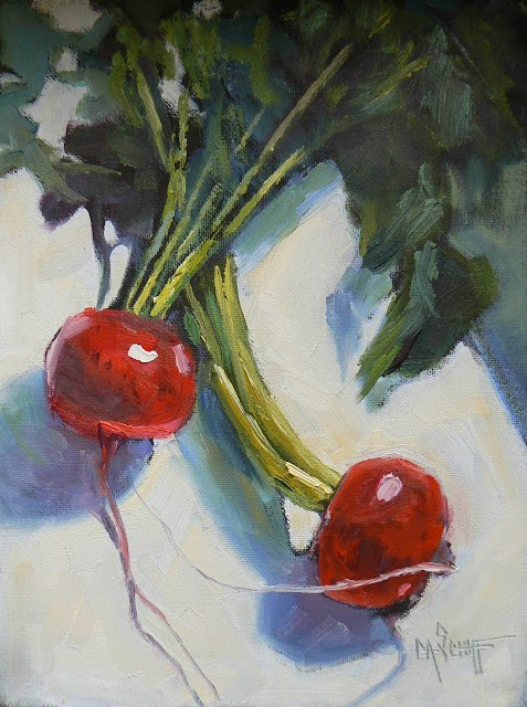 """Vegetable Still Life, Daily Oil Painting, Ravanello Danza"" original fine art by Carol Schiff"
