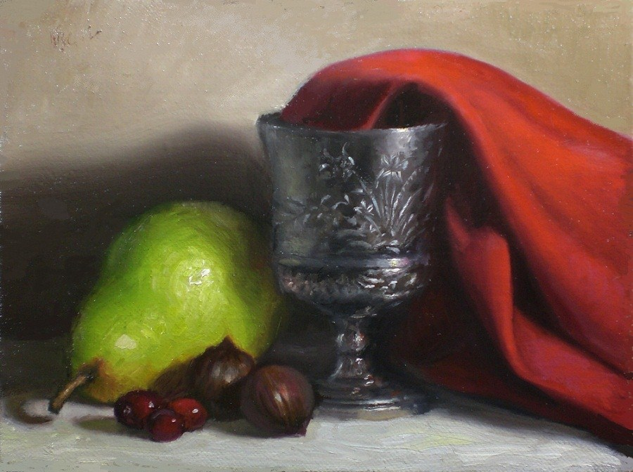 """Silver Goblet and Red Cloth"" original fine art by Debra Becks Cooper"