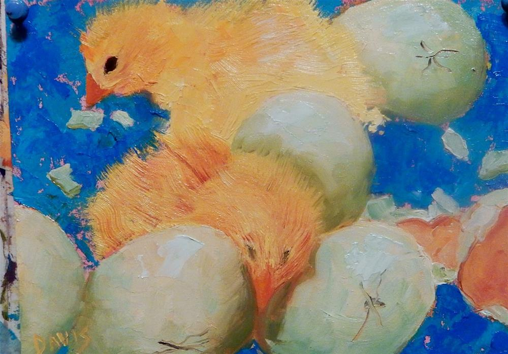 """Chick Labor"" original fine art by Phyllis Davis"