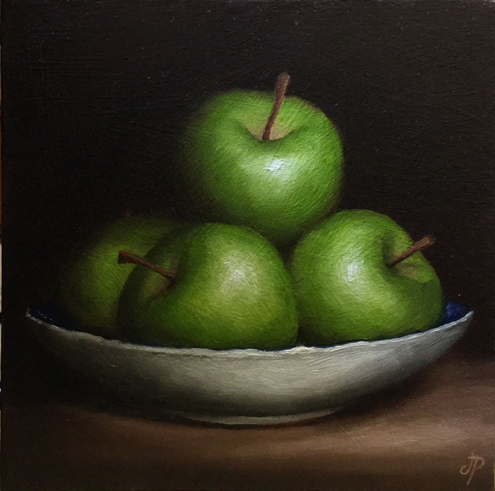 """Green Apple Dish"" original fine art by Jane Palmer"