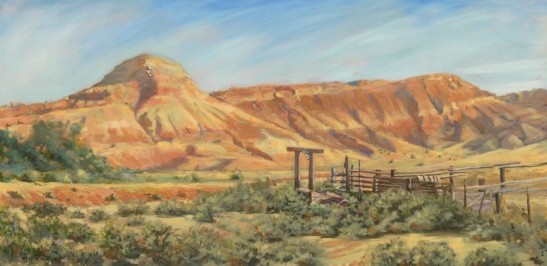 """Original Colorado Mountain Western Landscape Oil Painting The Old Loading Dock by Colorado Artist"" original fine art by Nancee Busse"