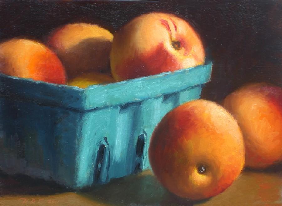 """""""Ripe Peaches"""" original fine art by Debra Becks Cooper"""
