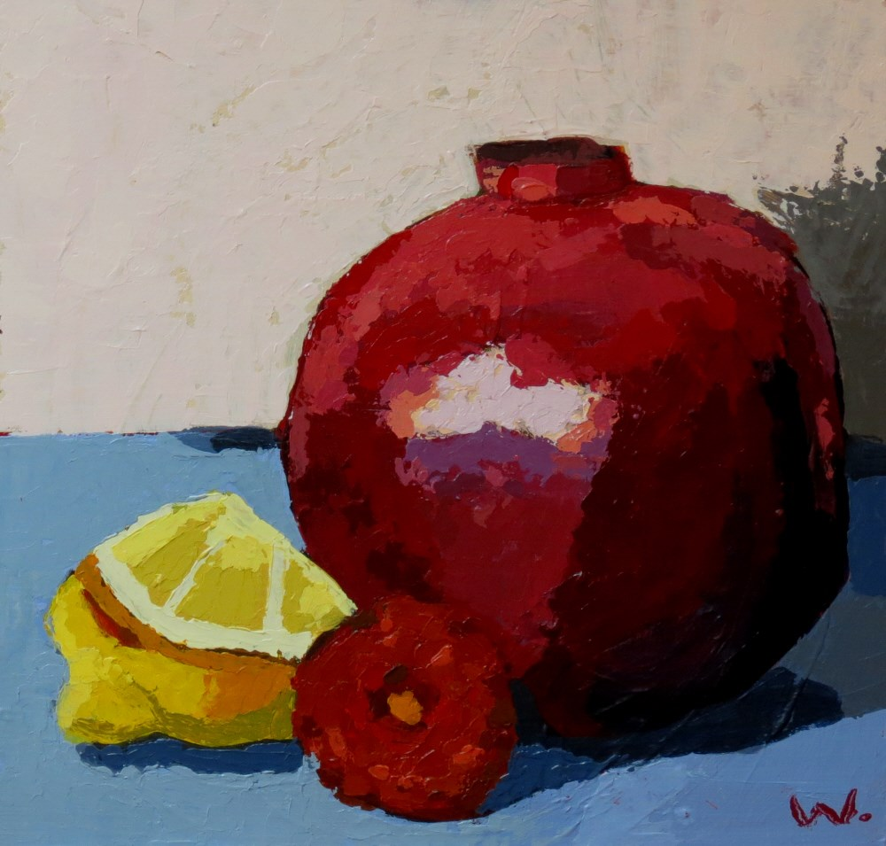 """Pomegranate Mum"" original fine art by Joan Wiberg"