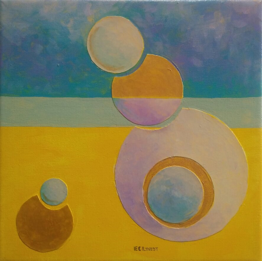 """Yellow and Gold Composition"" original fine art by Elaine Lynest"