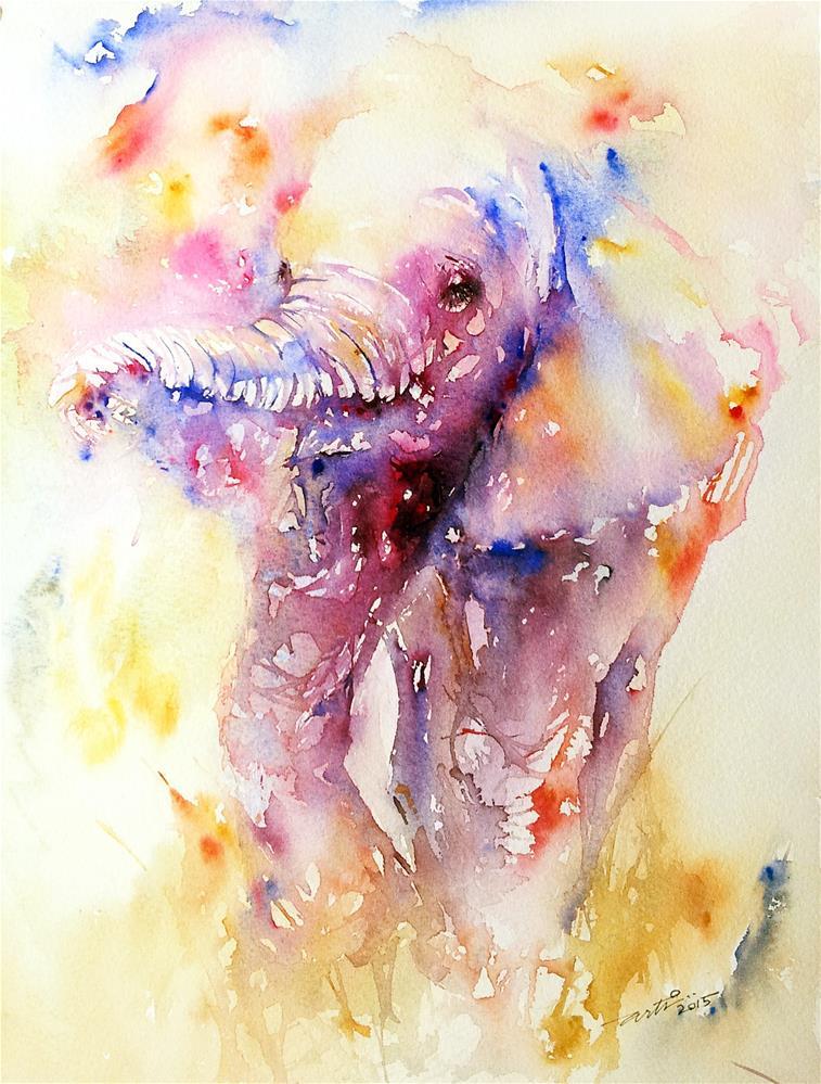 """Baby Pink Elephant"" original fine art by Arti Chauhan"