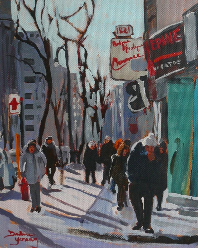 """890, Montreal Winter Scene, Ste-Catherine, Acrylic on Board, 8x10"" original fine art by Darlene Young"