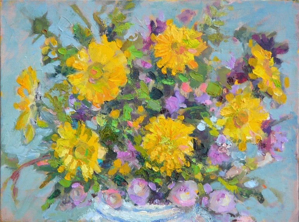 """Burst of color,still life,oil on canvas,9x12,price$175"" original fine art by Joy Olney"