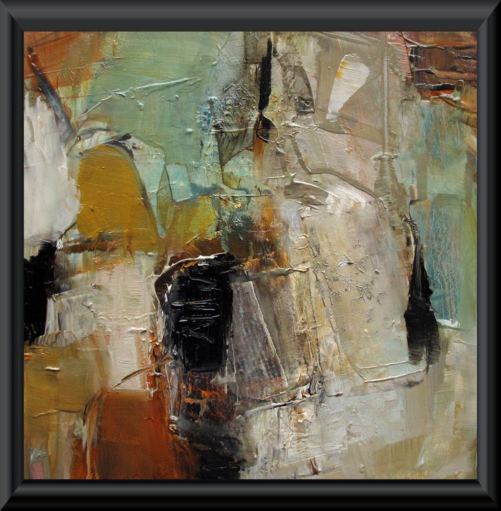 """ORIGINAL ABSTRACT ART 6 x 6 Painting OIL BLACK BIRD SINGING"" original fine art by Colette Davis"