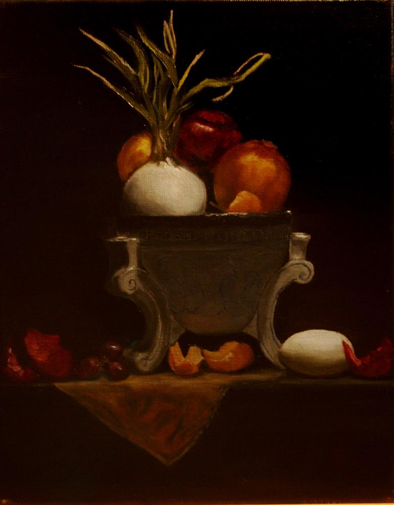 """Onions and Egg"" original fine art by Mary Datum"