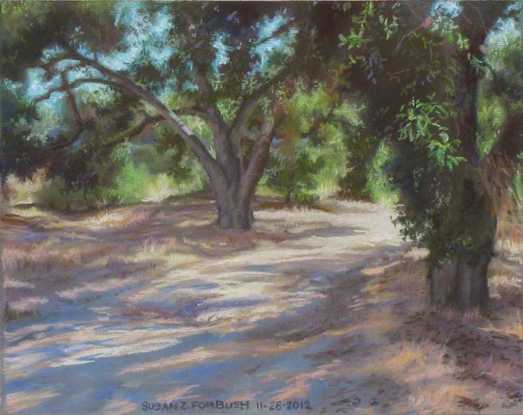 """""""Twin Oaks II, Malibu Creek State Park"""" original fine art by Susan Z. Forbush"""