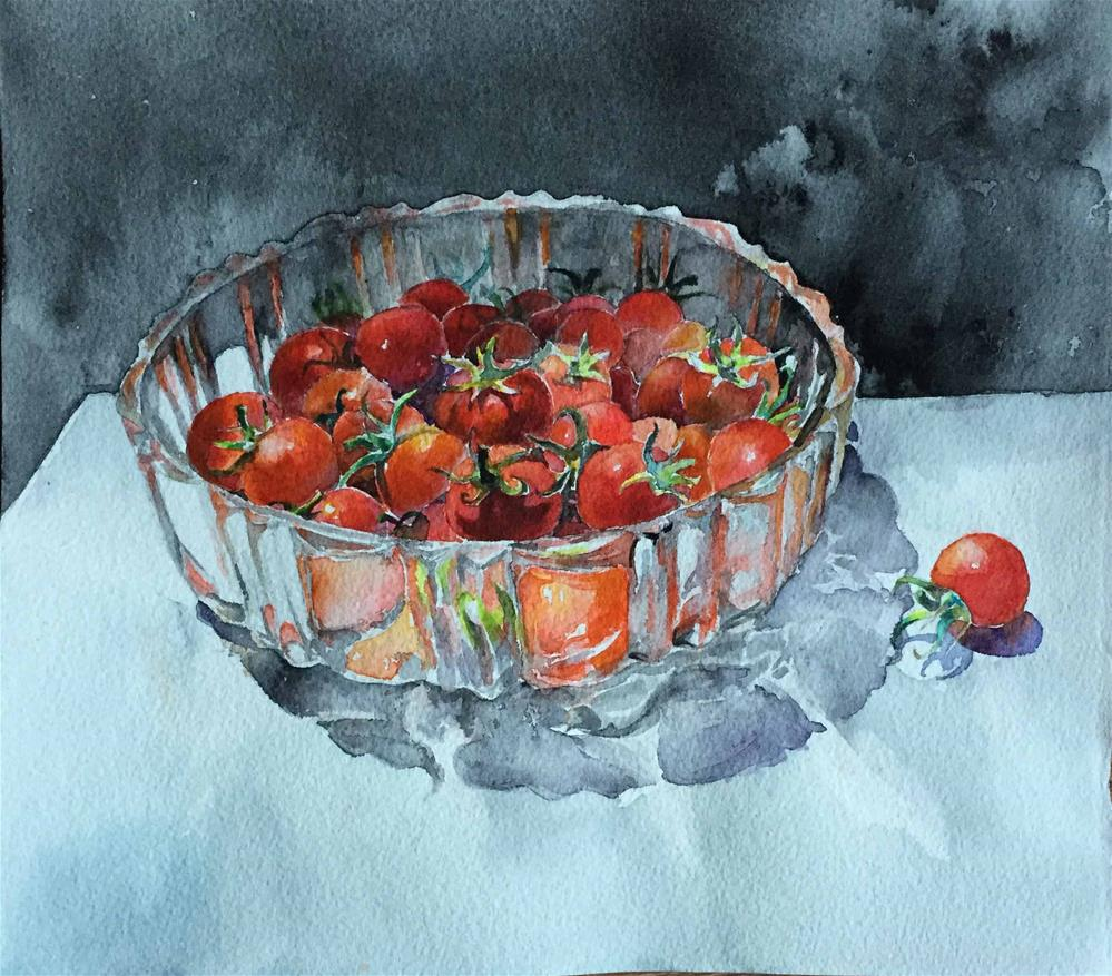 """small tomatoes I grew"" original fine art by Wenqing Xu"