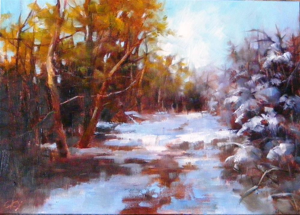 """""""Winter, the road"""" original fine art by Celine K.  Yong"""