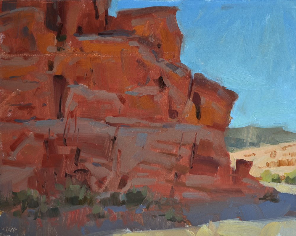 """Red Rock in Shadow"" original fine art by Carol Marine"