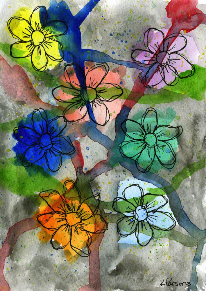 """Flowers Amongst Drips"" original fine art by Kali Parsons"